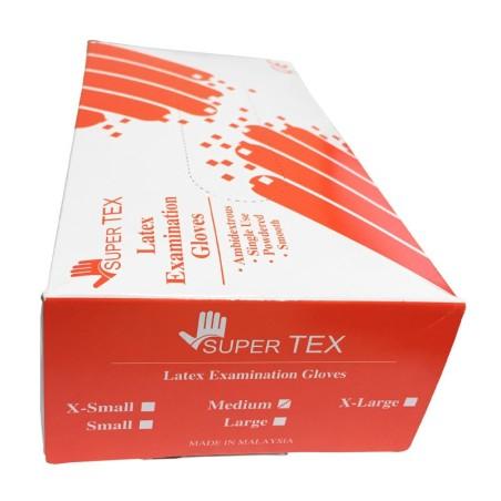 دستکش لاتکس پودری سوپر تکس Latex Examination Glove Super Tex