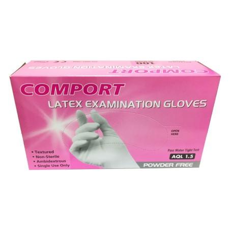 دستکش لاتکس بدون پودر معاینه کامپورت latex examination gloves COMPORT